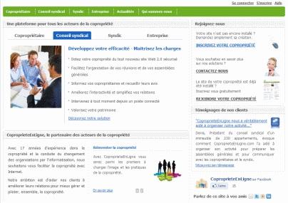Ecran Accueil Conseil Syndical de CoproprieteEnLigne.com